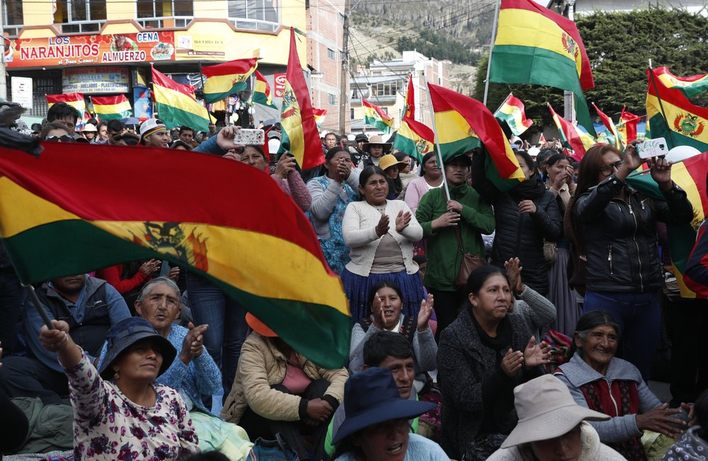 "Anti-government protesters against the reelection of President Evo Morales, attend a rally with the coca leaf growers in La Paz, Bolivia, Thursday, Nov. 7, 2019. The United Nations on Thursday urged Bolivia's government and opposition to restore ""dialogue and peace"" after a third person was killed in street clashes that erupted after a disputed presidential election on Oct. 20."
