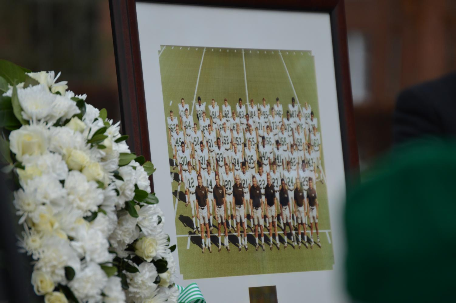 A photo of the 1970 Thundering Herd football team at the 2018 Memorial Fountain Ceremony.