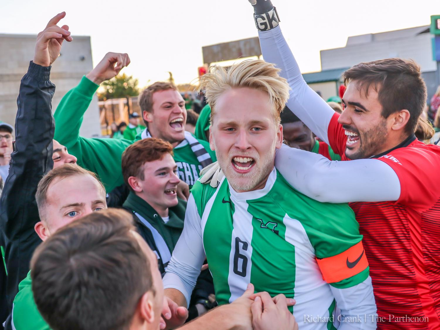 Herd men's soccer celebrates its victory over Kentucky