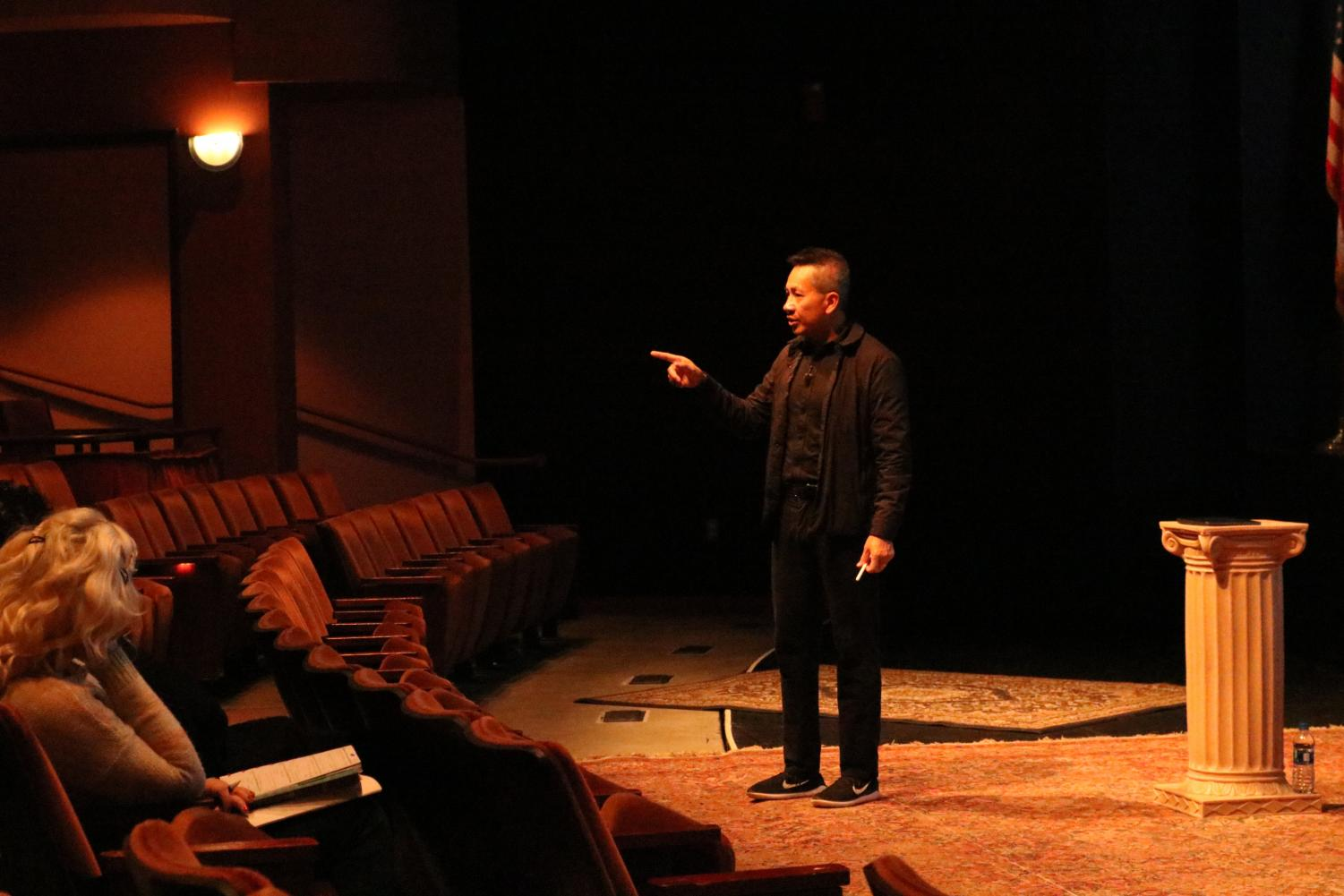 Steve Robbins addresses Marshall faculty members Tuesday at the Joan C. Edwards Playhouse during his lecture on the importance of inclusion on campus.