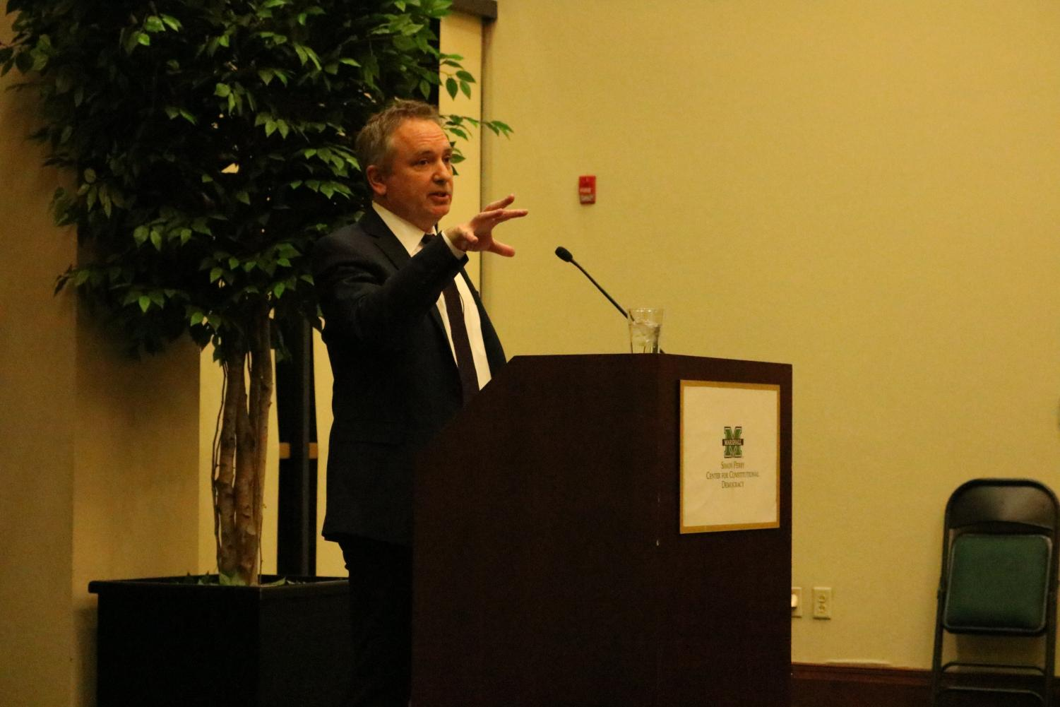 David Barron, United States Circuit Judge of the Court of Appeals for the First Circuit, addresses the crowd during an Amicus Curiae lecture Nov. 12.