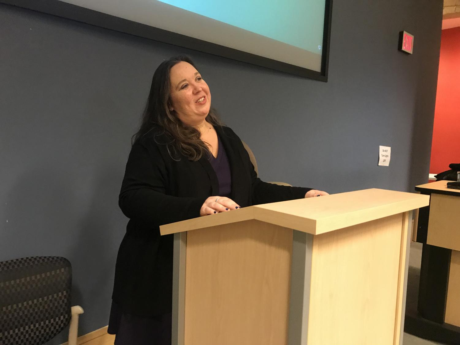 Marshall psychology professor April Fugett-Fuller discussed how frustration can be transformed into beauty during a lecture in Drinko Library Nov. 14.