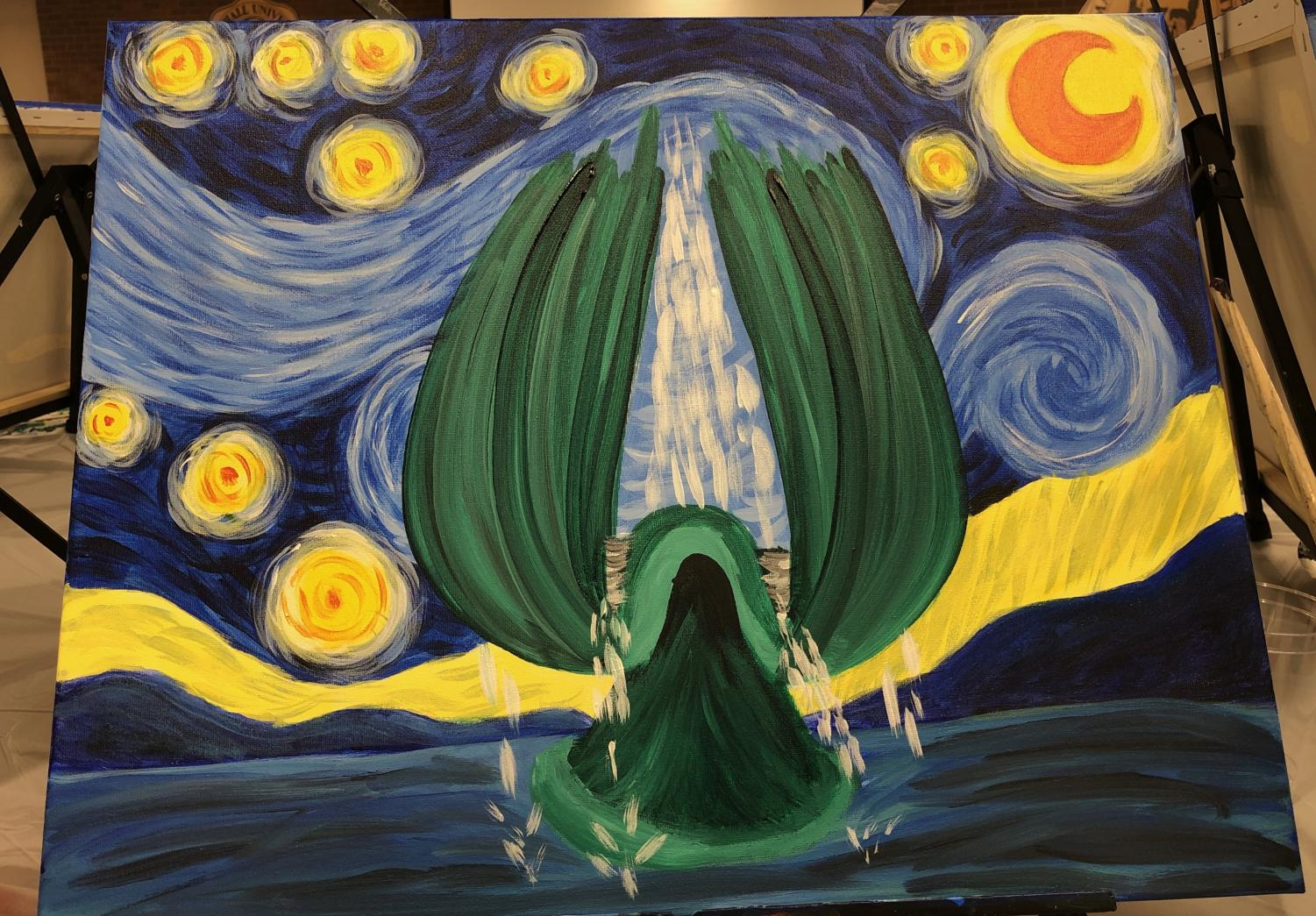 This piece was painted by Brooklyn Coleman, a sophomore elementary education major, at the Paint and Sip event honoring the victims of the 1970 plane crash Nov. 13.