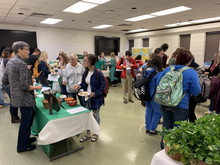 Students tried free locally produced food and discussed seasonality, sustainability and immigration at the second annual Food Past/Food Future event in Harris Hall Oct. 29.