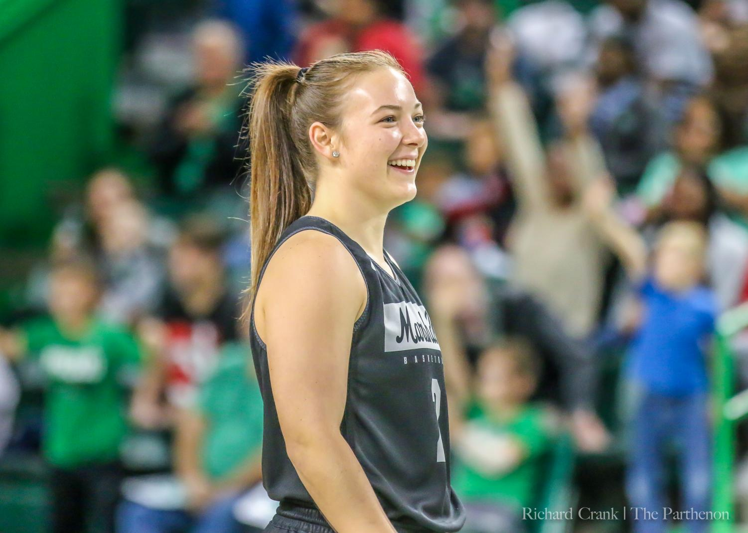 Kristen Mayo is all smiles at the Herd Madness event in October 2019.