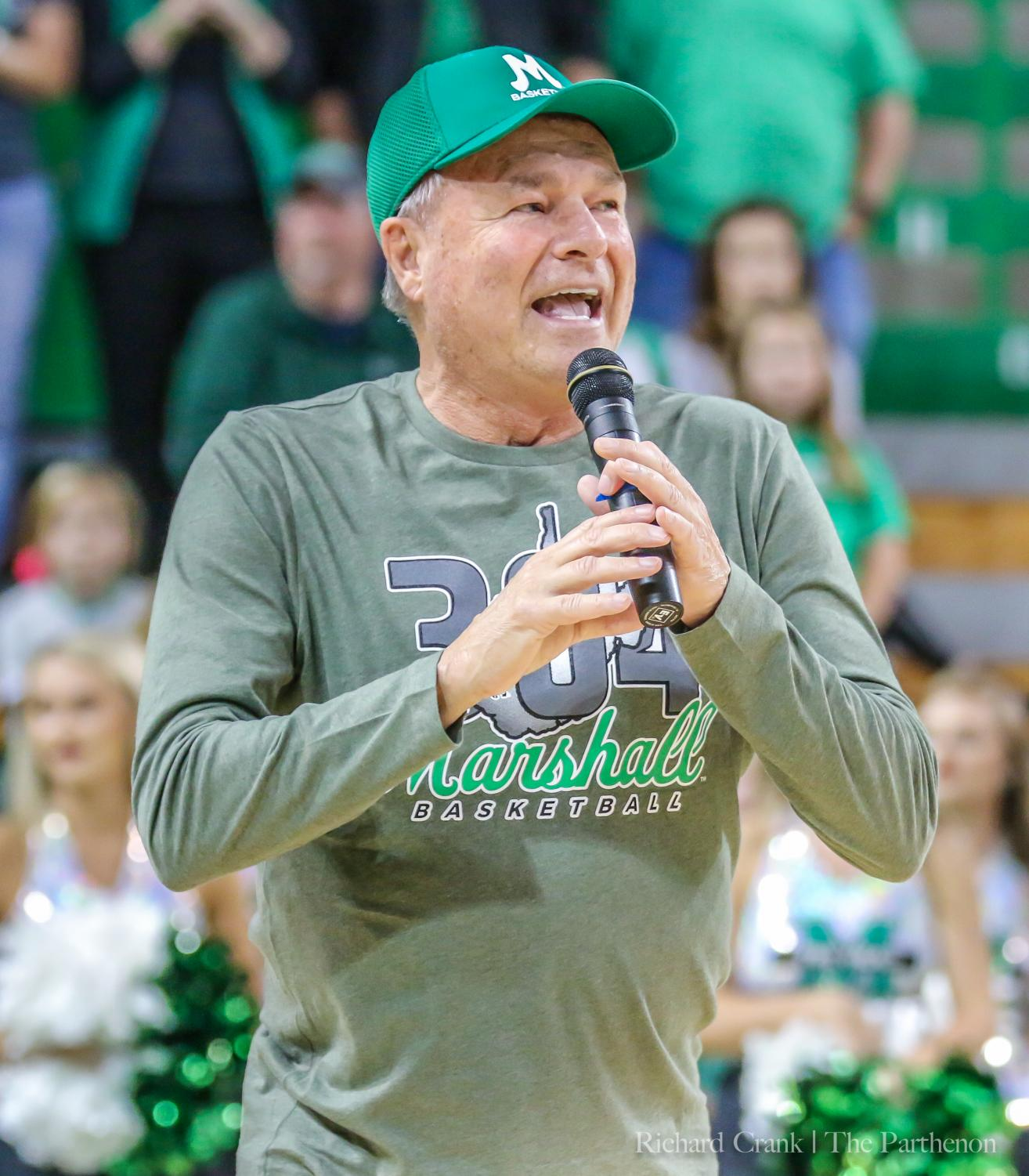 Dan D'Antoni hypes up the crowd during Herd Madness 2019.