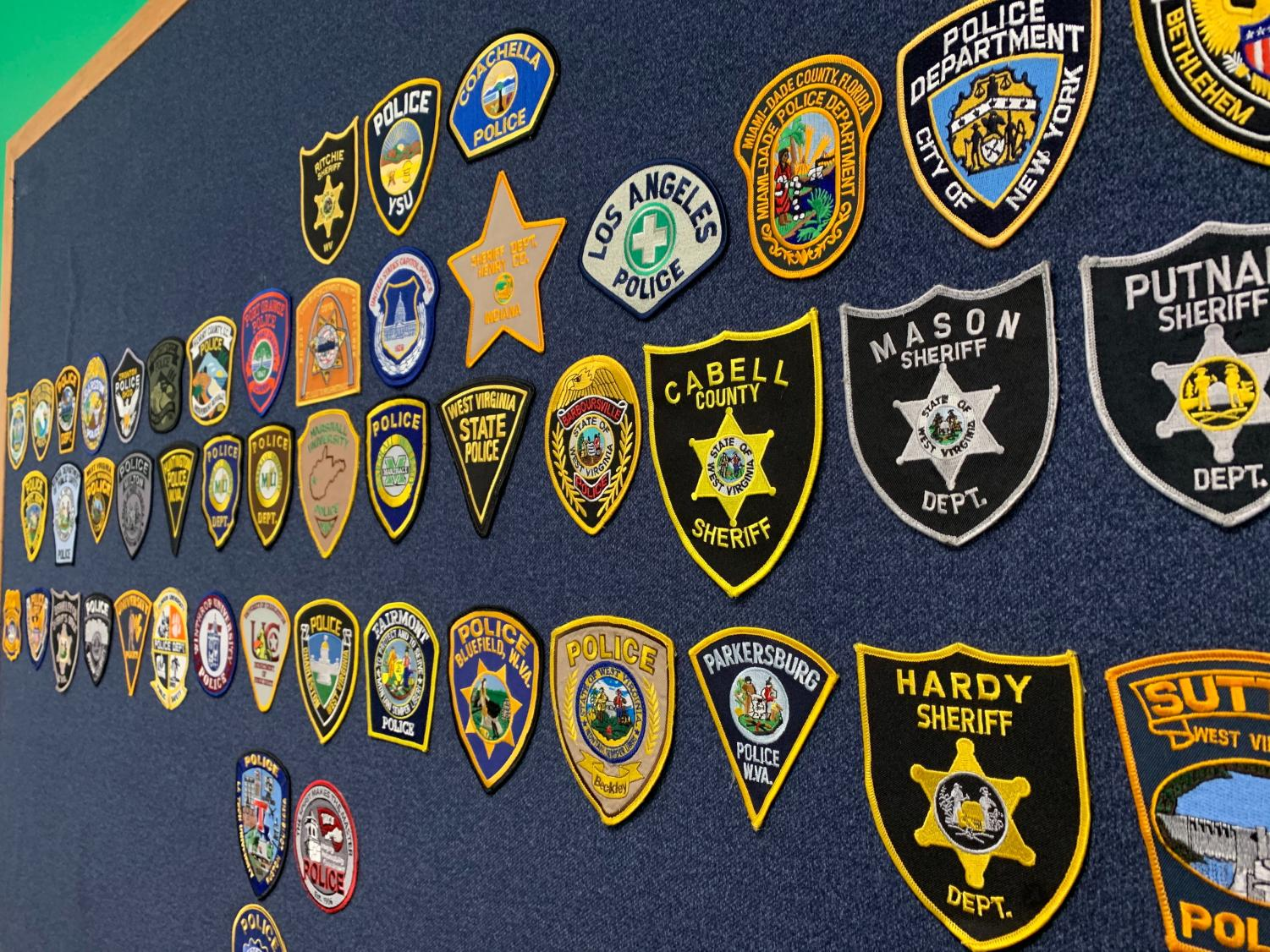 Marshall University Police Department's patch board currently consists of 43 individual patches. Each patch is either currently or was at one point worn by an MUPD officer.
