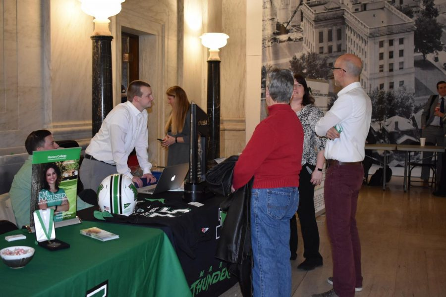 Students, faculty and community members joined delegates at the Marshall at the Capitol event to mingle and declare Thurs., Jan. 30, 2020 Marshall University Day.