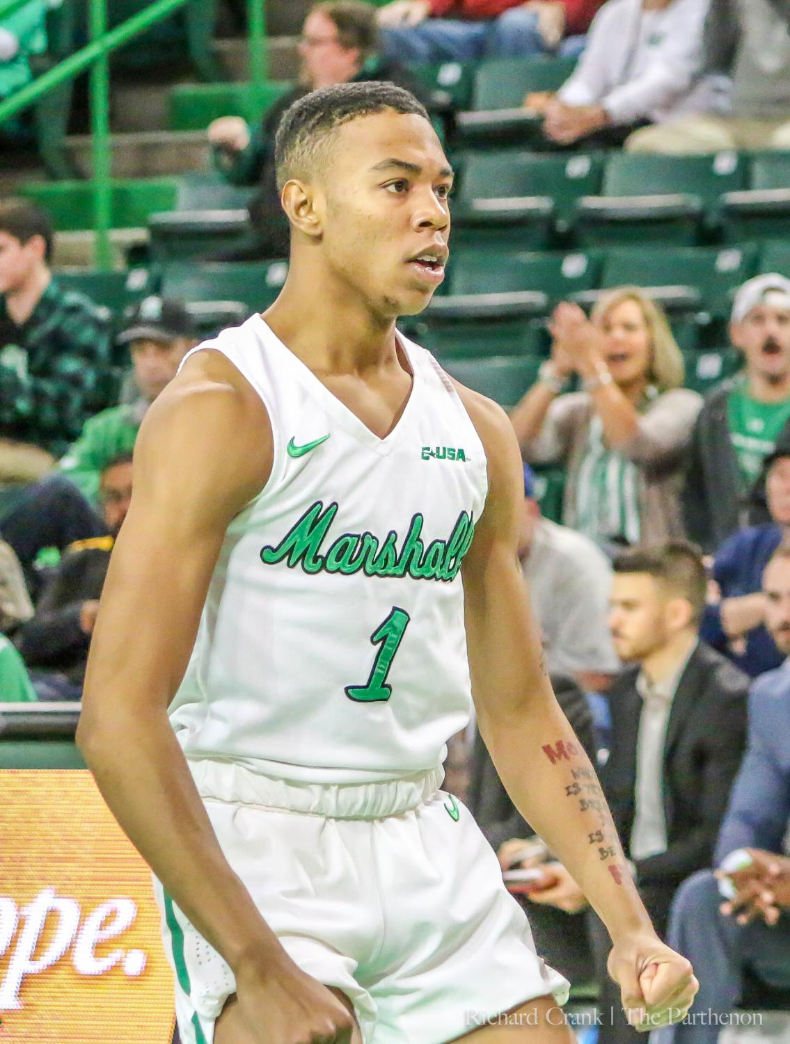 Taevion Kinsey focusing on a big play made by the Herd against North Texas.