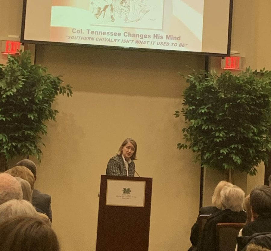 Marjorie Spruill, author and University of South Caolina professor, address the crowd during Amicus Curiae lecture Jan. 21.