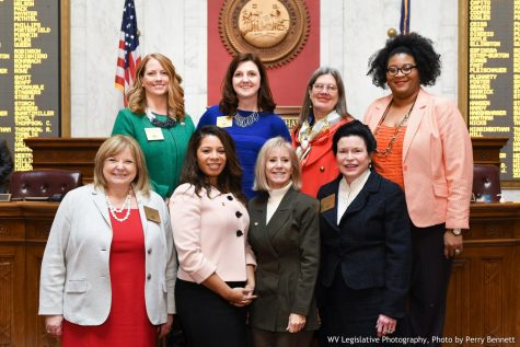 Members of the West Virginia House of Delegates Democratic Women's Caucus pose for group photo.
