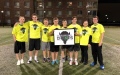 Marshall Ultimate Frisbee Club team celebrated Intramural Champs.