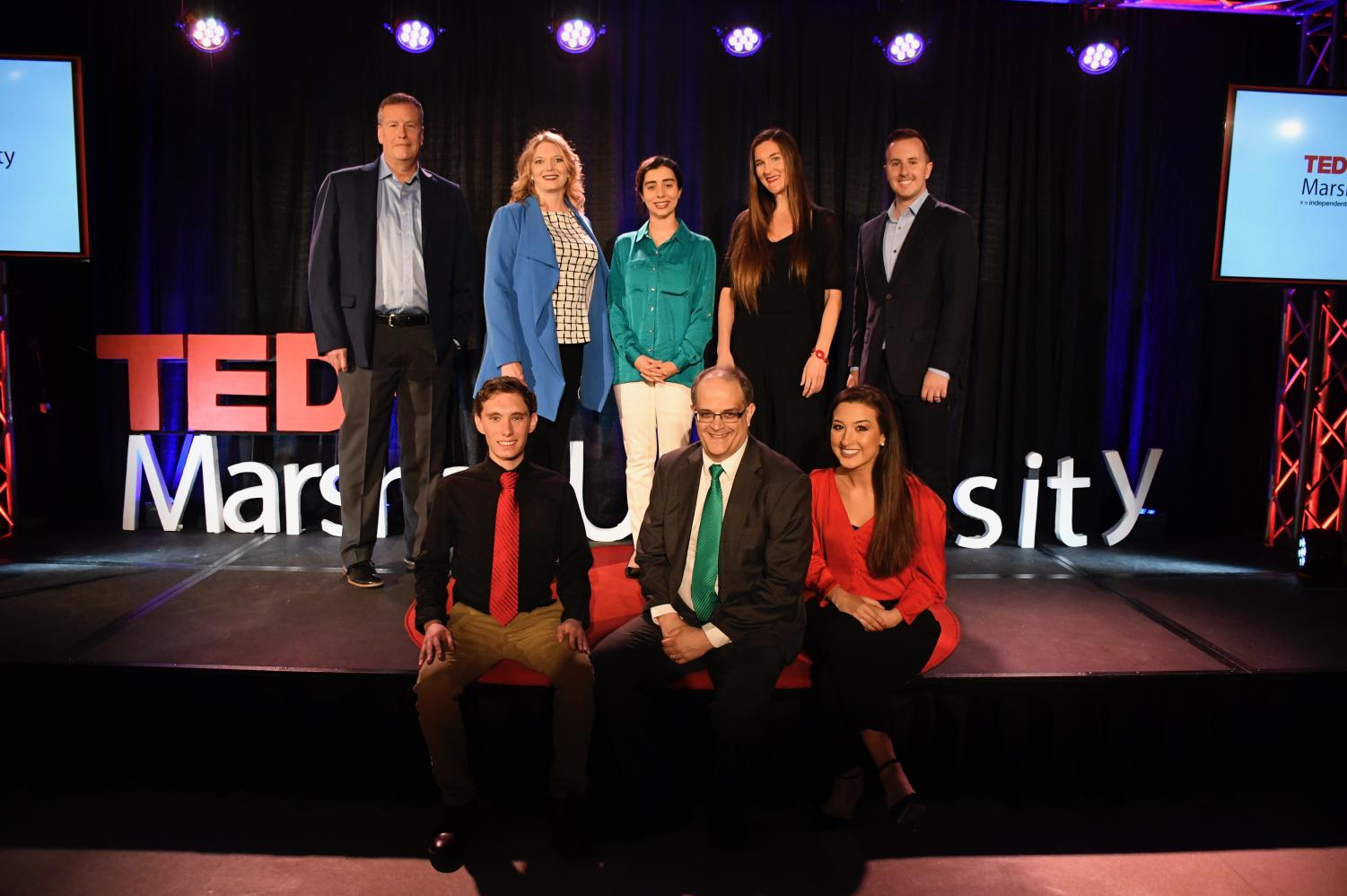 Speakers and Marshall faculty and students pose after last year's first TEDxMarshallU event.