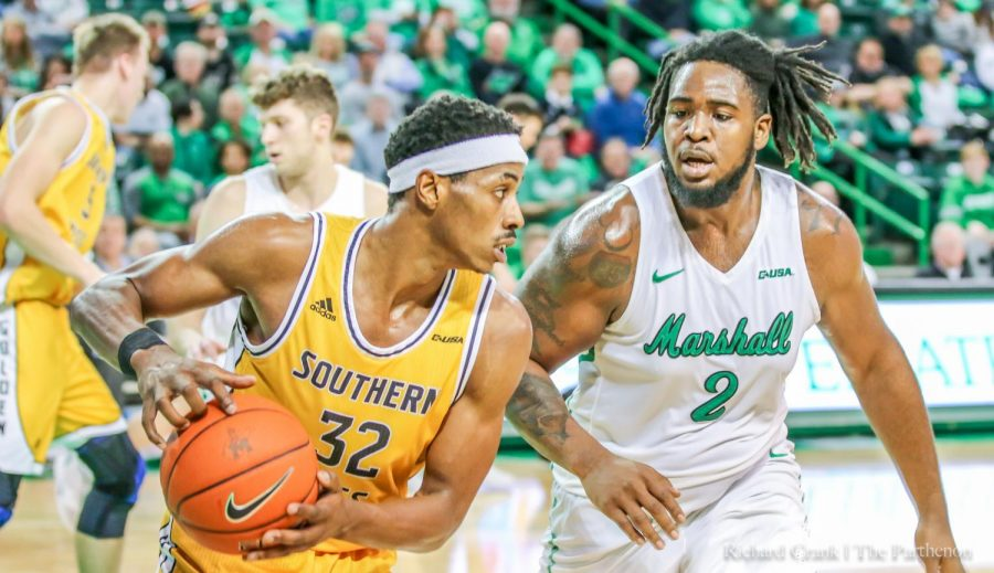 Thundering+Herd+Men%27s+Basketball+defeated+USM+Golden+Eagles%2C+72-58%2C+on+2%2F6%2F2020+at+the+Cam+Henderson+Center.