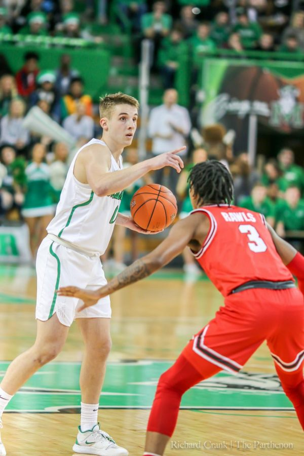Redshirt+freshman+guard+Andrew+Taylor+called+a+play+for+the+Herd+against+WKU.