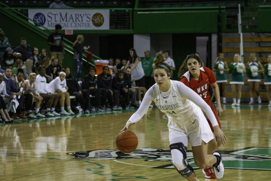 Sophomore Lorelei Roper dribbled the ball down the court against WKU.