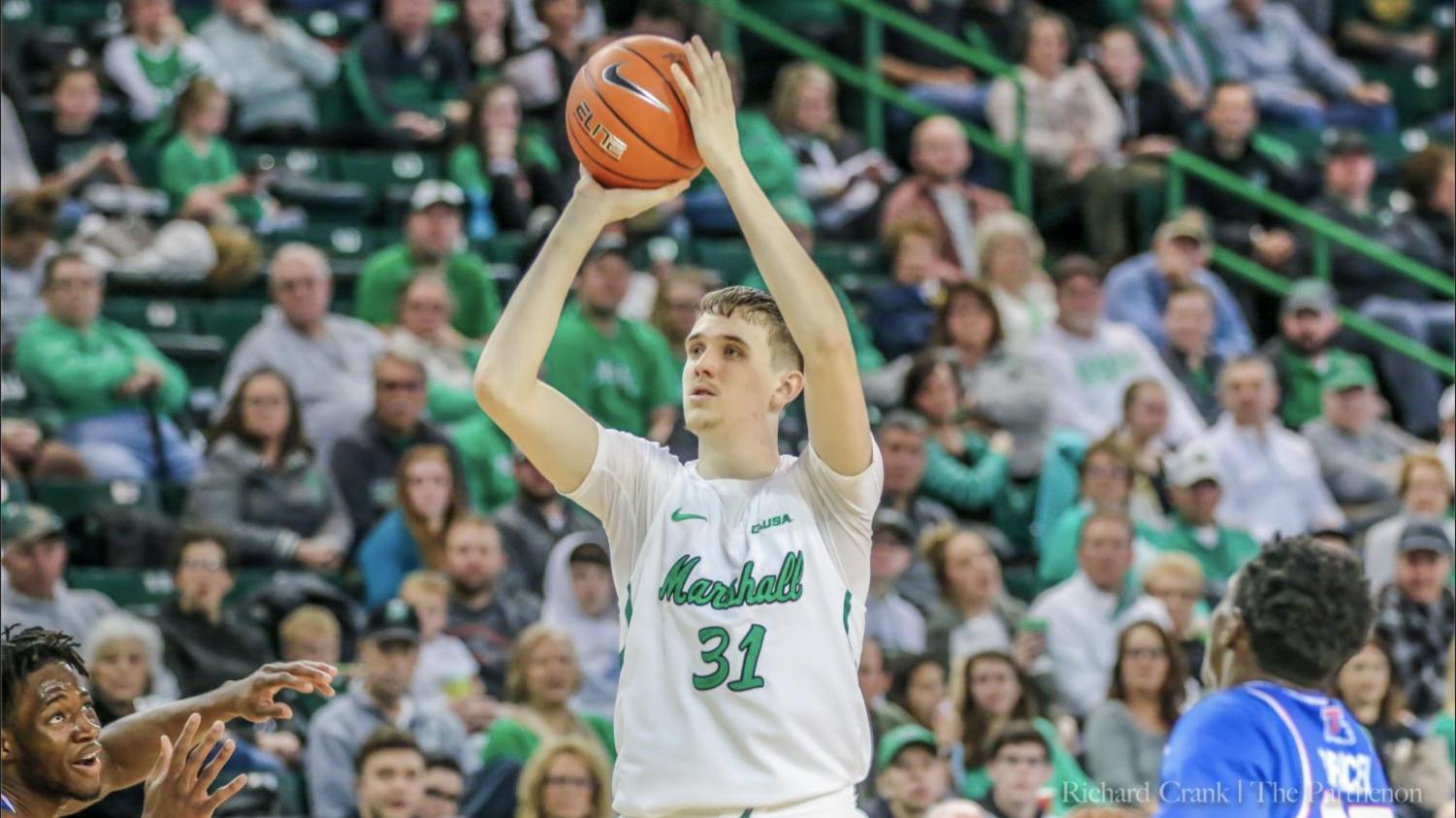 Mikel Beyers pulled up a shot against LA Tech.