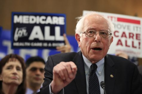 Sen. Bernie Sanders, I-Vt., introduces the Medicare for All Act of 2019, on Capitol Hill on April 10, 2019.