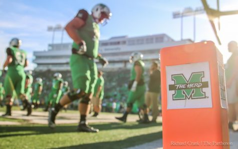 The Marshall football team prepares for its home game against the Ohio Bobcats last season.