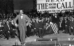 Eugene V. Debs, member of the Socialist Party of the USA and presidential candidate, speaks to members of the worker's union on Aug. 17, 1912, at an unknown location in the USA.