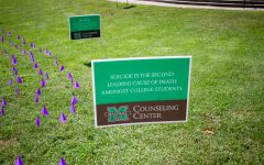 Multiple signs are placed around Marshall's campus.