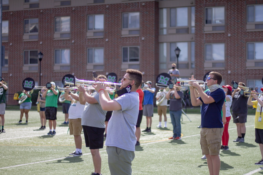 MU band practicing with social distancing precautions.
