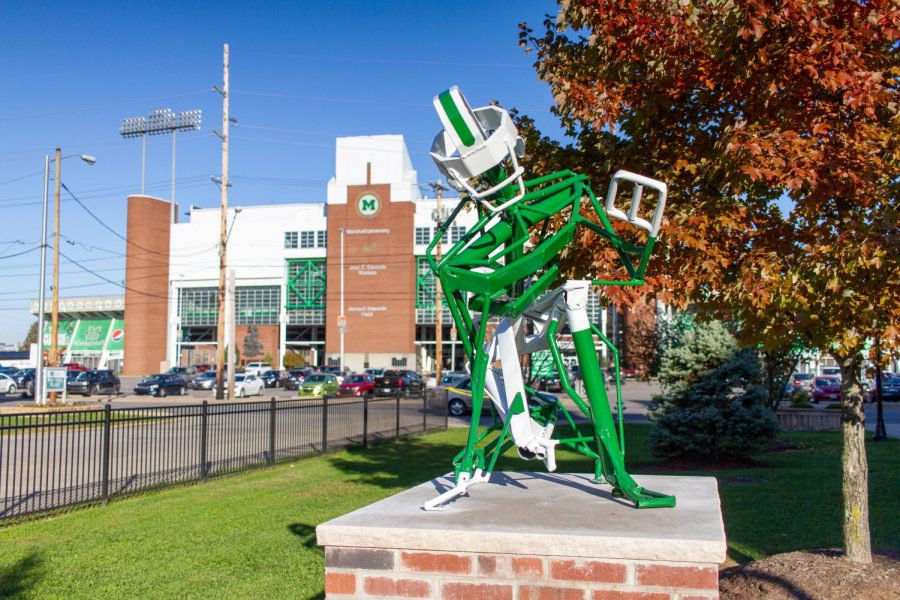 The statue is now located outside of the Rec Center on the 20th street side.