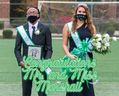 Mr. Marshall, Mel Thomas, and Ms. Marshall, Kristen Shomo pictured on the Rec Center outdoor field after homecoming crowning.