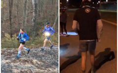 HollyAnn Swann and Caleb Bowen (Left) and Dan Green (Right) in the midst of running in their respective races.