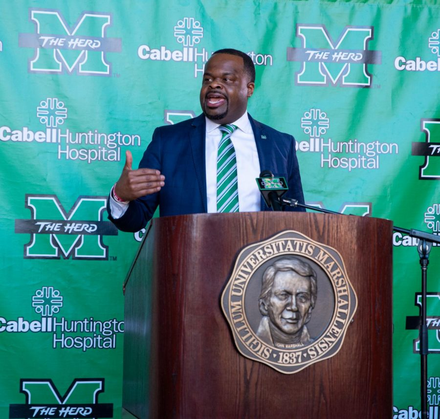 Charles Huff speaks to the media at his introductory press conference on Tuesday, Jan. 19.