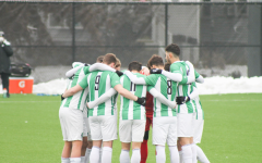 The Herd men's soccer team gathers during its matchup with Ohio Valley on Feb. 13.