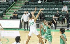 Junior guard Taevion Kinsey pulls up for a jumper against North Texas Friday, Feb. 26.