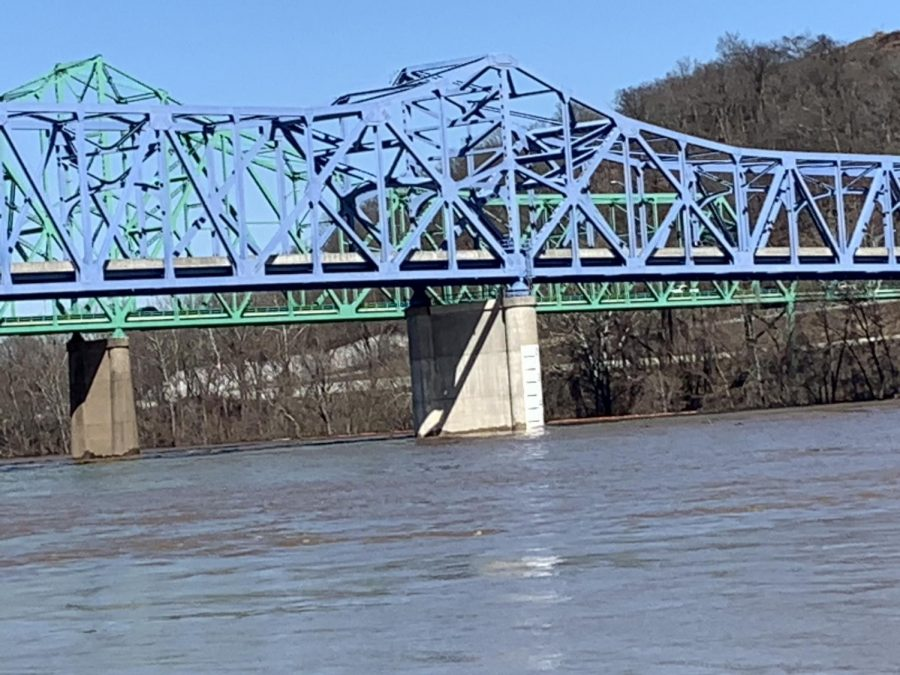 Water levels continue to rise up the pillars of the Ashland Bridge.