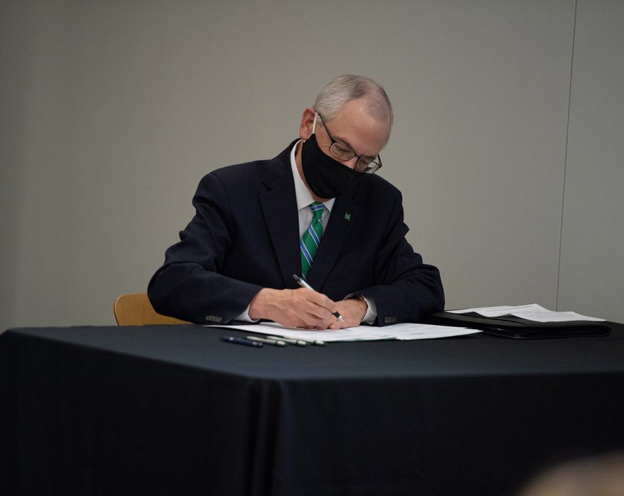 President Jerry Gilbert  signed the memorandums of understanding today at Marshall's South Charleston campus.