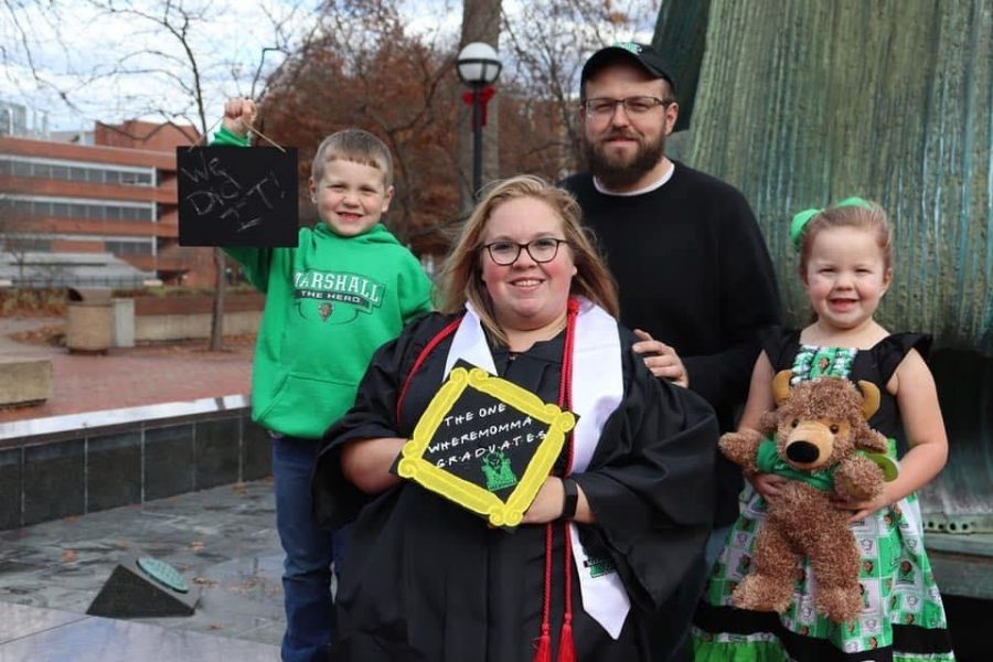 Brittany+Hively%2C+executive+editor%2C+and+family+prior+to+her+winter+2019+graduation+from+Marshall+University.+