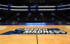 General overall view of the March Madness logo at center court before the first round of the 2019 NCAA Tournament in Salt Lake City, Mar. 20, 2019.