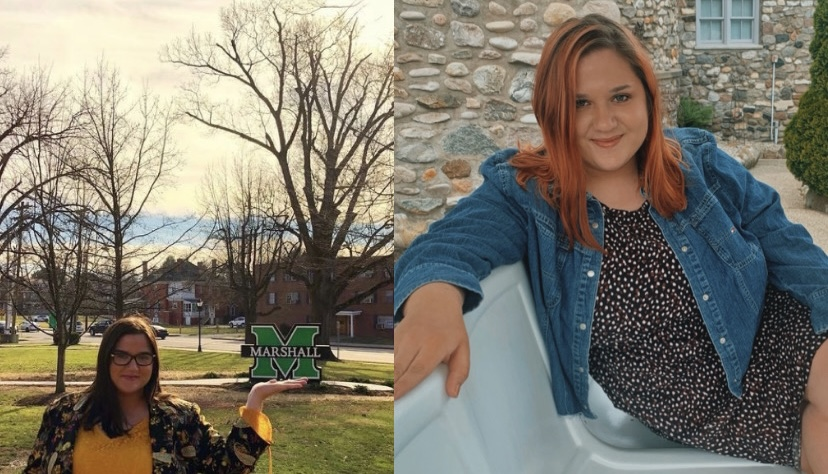 Bunton in spring 2019 after orientation event (left) and summer 2021 (right) one semester left before graduation.