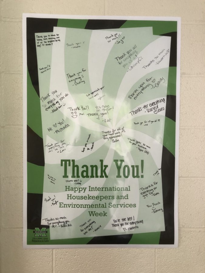 Students showing appreciation for International Housekeeping and Environmental services week